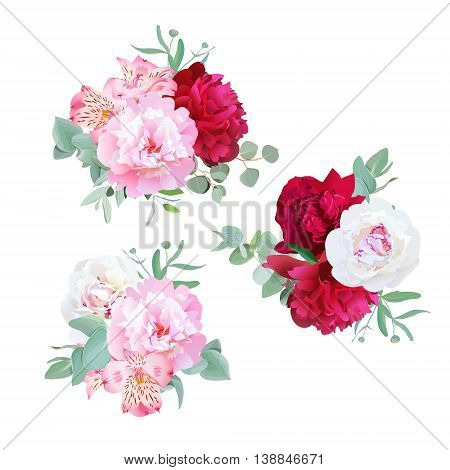 Luxury floral bouquets of peony alstroemeria lily mint eucaliptus and ranunculus leaves on white. Pink white and burgundy flowers.