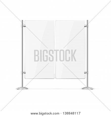 Double Blank Glass Door for Cafe or Restaurant. Vector illustration