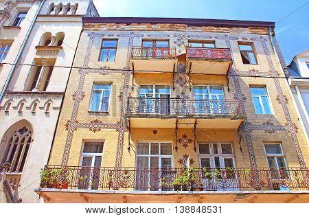 Majolica House with its beautiful ornamentation on Les Kurbas Street in Lviv, Ukraine