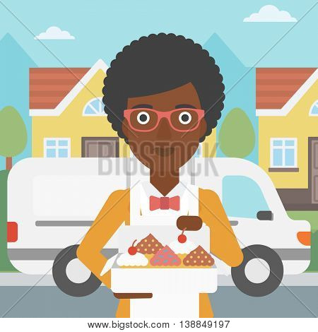 An african-american female baker holding a box of cakes. A baker delivering cakes. Baker with cupcakes standing on the background of delivery truck. Vector flat design illustration. Square layout.