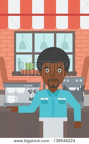 An african-american barista sanding in front of coffee machine. Barista at coffee shop. Barista making a cup of coffee. Vector flat design illustration. Vertical layout.