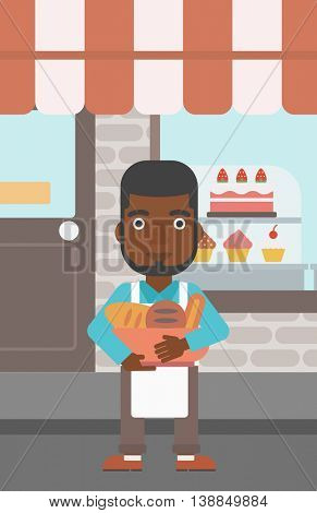 An african-american baker holding basket with bakery products. Baker standing in front of bakery. Baker with bowl full of bread. Vector flat design illustration. Vertical layout.