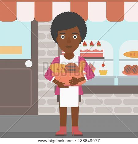 An african-american young female baker holding basket with bakery products. Female baker standing in front of bakery. Baker with bowl full of bread. Vector flat design illustration. Square layout.