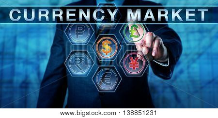 Manager is pushing CURRENCY MARKET on an interactive touch screen interface. Monetary metaphor for the interbank market carry trade forex and foreign exchange market. Close up torso shot of trader.