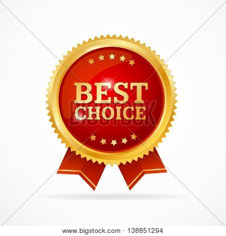 Best Choice Label. Gold Metal Badge with Red Ribbon Isolated on White Background. Vector illustration