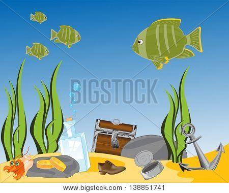 Rubbish on sea day and coffer with treasure