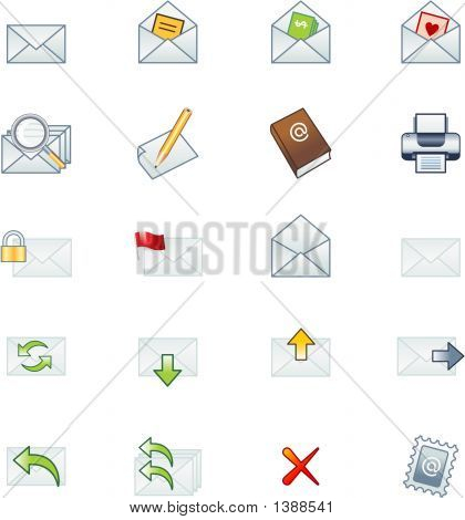 Full Set Of Coloured Mail Icons