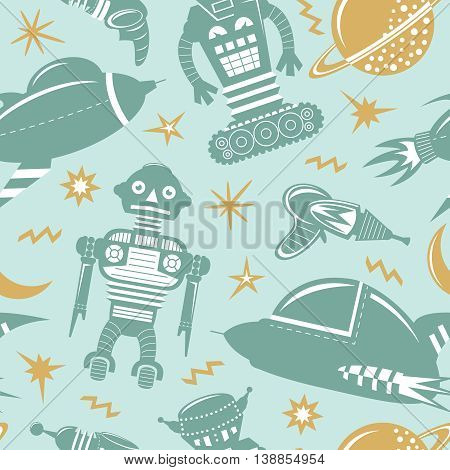 Vector seamless pattern with robots spaceships and planets. Space invaders background.
