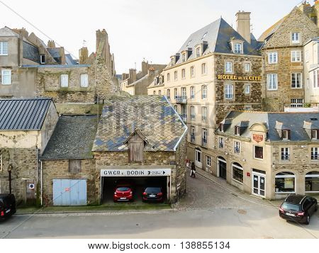 SAINT MALO FRANCE - MAY 4 2014: The Intramuros - Internal City of Saint Malo. Brittany, France