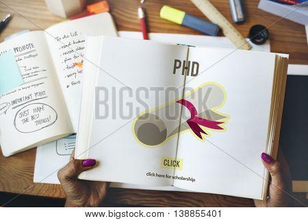 PhD Doctor of Philosophy Degree Education Graduation Concept