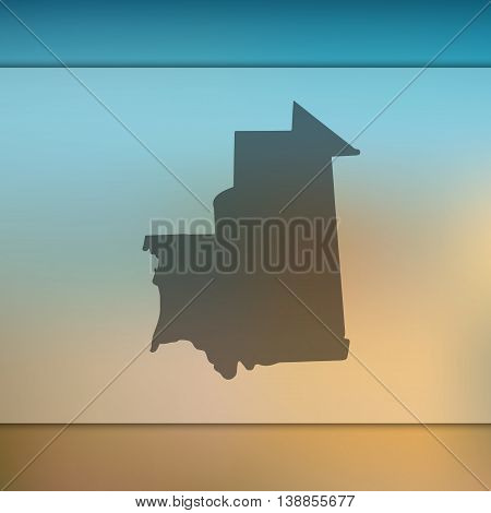 Mauritania map on blurred background. Mauritania. Mauritania map. Blurred background.