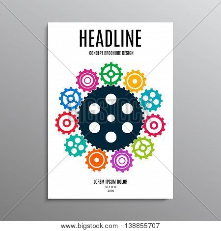 business brochure template or layout design flyer in A4 size with gears on background. stock vector illustration eps10