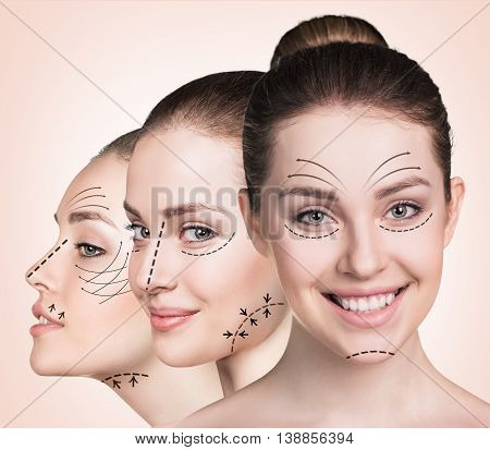 Anti aging treatment and plastic surgery concept. Beautiful faces of young woman with arrows over biege background