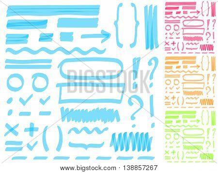 Hand drawing highlighter elements for select and edit text. Four color set. Orange, pink, green and blue. EPS10.
