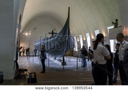 OSLO, NORWAY - JULY 1, 2016: It's a real funeral Drakkar Vikings raised from the bottom of the Oslo Fjord.