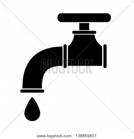 Water tap icon. Flat vector stock illustration. Black and white whiteboard drawing.