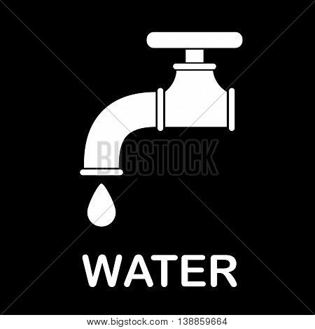 Water tap icon. Flat vector stock illustration. Black and white drawing.
