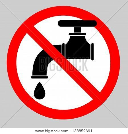 Water tap icon. Flat vector stock illustration. Crossed sign