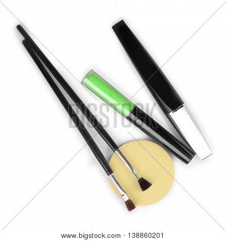lipstick mascara blusher face isolated on white .