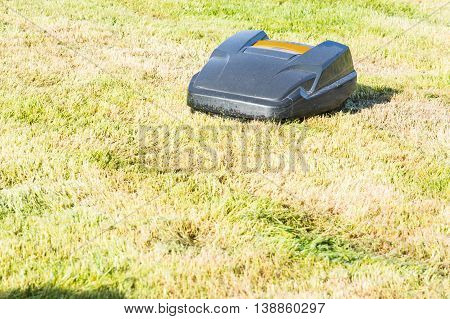 Lawnmower robot automatic lawn mower that mows the lawn in a garden