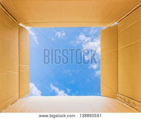 Thinking outside the open box to sky, concept the open mind freedom