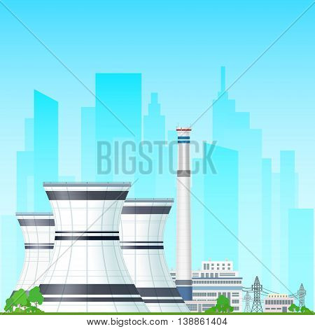 Nuclear Power Plant on the Background of the City, Thermal Power Station, Nuclear Reactor and Power Lines , Nuclear Station Supplies Electricity to the City ,Vector Illustration