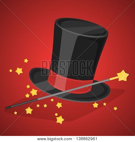 Magic hat and magic wand with sparkles wizard trick concept vector illustration. Magic hat and magic wand with stars. Cartoon magic hat. Black vector magic hat on red background. Magic hat sign.