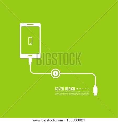 Abstract background with charge mobile phones. usb cable is connected to the smartphone. The concept  power charging. Vector.  Low battery