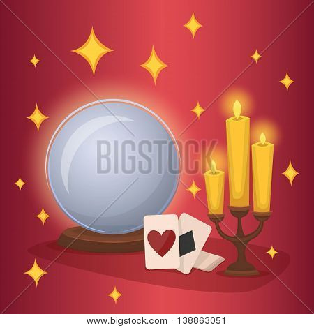 Crystal ball and fortune telling cards. Concept of esotericism and divination. Magic and divinations tricks. Mystery atmosphere. Cartoon crystal ball fortune telling and magic playing card. Wizard.