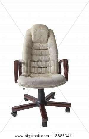 Old Crannied Office Boss Chair (armchair). Grown old upholstery. Restoration of Old Furniture and Replacing the Material update.