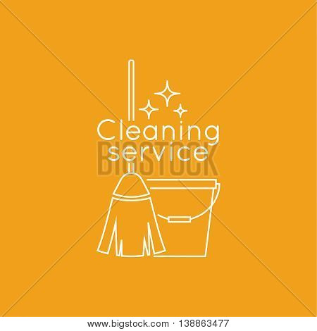 Logo cleaning service with broom and bucket. Linear icon. Thin line. The concept of home cleaning and cleanliness.  cleaning service.