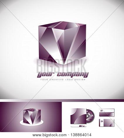 Vector company logo icon element template cube 3d illustration purple pink design