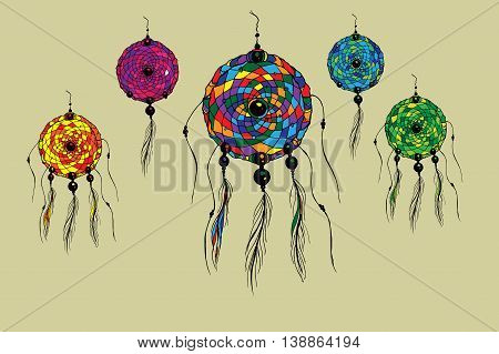 Dreamcatcher set. Hand drawn vector stock illustration.