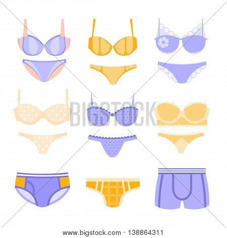 Comfortable Men And Women Underwear In Pastel Blue And Yellow Colors Matching Sets Collection Of Clip Art Objects