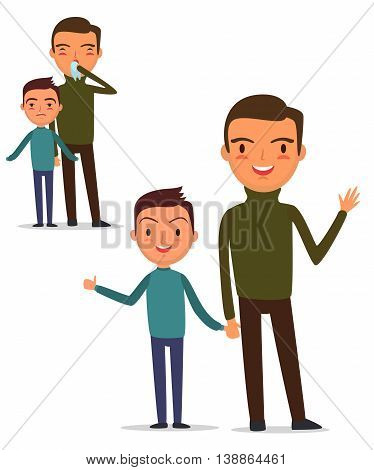 Sick father and son are together and shivering. Flu. Father and son have recovered. Isolated on white background. Vector illustration. EPS 10