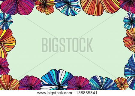 Set of Vectorized Flowers. Hand drawn vector stock illustration. Flower frame