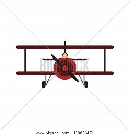Vintage toy biplane with pilot. Red color, front view. Vector illustration. Isolated on white background.