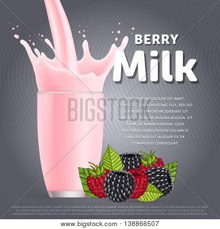 Wildberries sweet milkshake dessert cocktail glass fresh drink in cartoon vector illustration. Fruit milk splash. Milk cocktail dessert. Delicious drink. Glass of fruit milkshake. Sweet milk drink. Milk splash in a glass. Milkshake.
