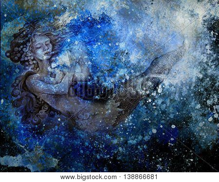 drawing of ocean mermaid plying flute on abstract background.
