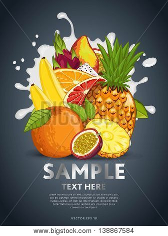 Ingredients for cooking fruits cocktail. Tropical fruits mix, isolated fruits on dark background. Fresh fruits side view. Healthy fruits with milk splash. Bunch of fruits. Vegans food. Fruits background.