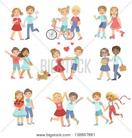 Young Love Teenager Couples Bright Color Cartoon Simple Style Flat Vector Set Of Stickers Isolated On White Background