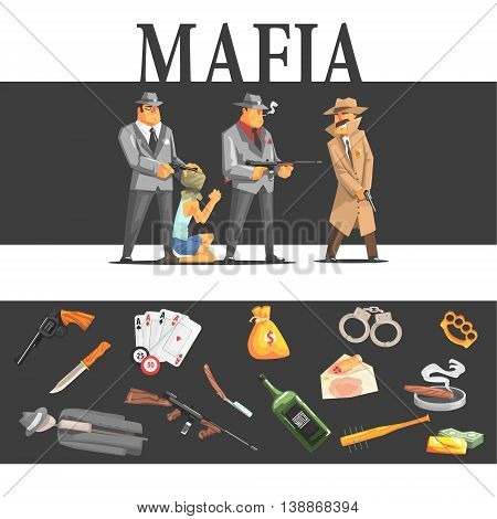 Mafia Taking Hostage And Their Equipment Cool Colorful Vector Illustration In Stylized Geometric Cartoon Design
