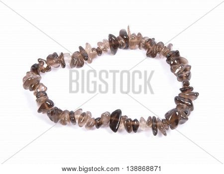 Splintered Smoky Quartz Chain On White Background