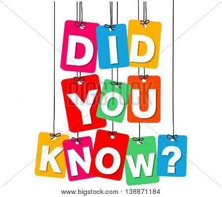 Vector colorful hanging cardboard. Tags - did you know on white background