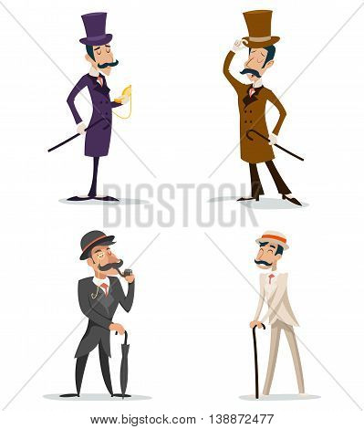 Business Victorian Gentleman Meeting Cartoon Character Set English Great Britain City Background Retro Vintage Design Vector Illustration poster