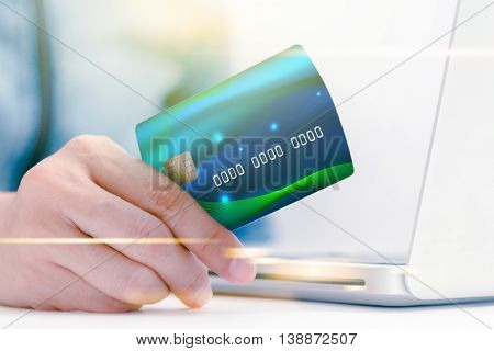 The Online Shoping Card And Holding Credit Card With Hand For Payment Online Shopping, This Lifestyl