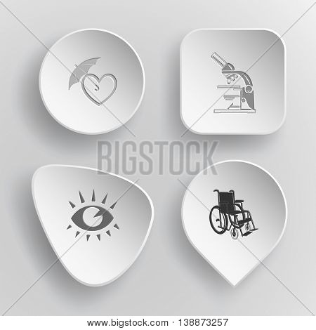 4 images: protection love, lab microscope, eye, invalid chair. Medical set. White concave buttons on gray background. Vector icons.