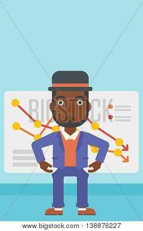 An african-american businessman showing his epmty pockets on the background of board with decreasing chart. Bankruptcy concept. Vector flat design illustration. Vertical layout.