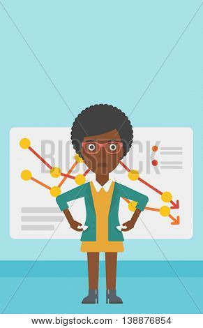 An african-american business woman showing her epmty pockets on the background of a board with decreasing chart. Bankruptcy concept. Vector flat design illustration. Vertical layout.