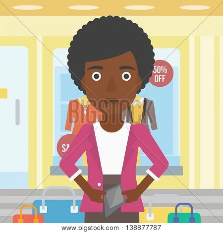 An african-american woman showing her epmty wallet on the background of showcase of a store. Vector flat design illustration. Square layout.